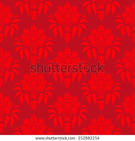Vector seamless pattern with swirls and floral motifs. - stock vector