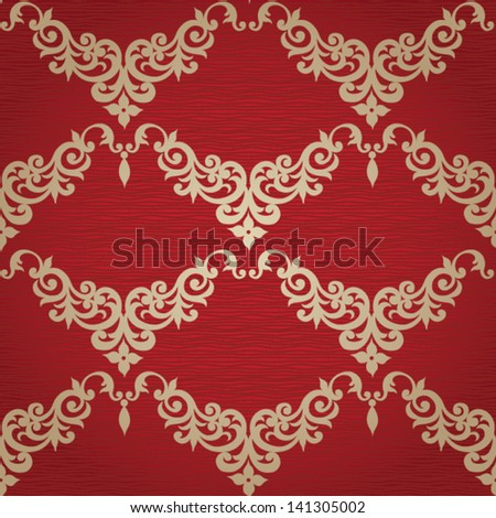 Vector seamless pattern with swirls and floral motifs in retro style. Background in Victorian style. - stock vector