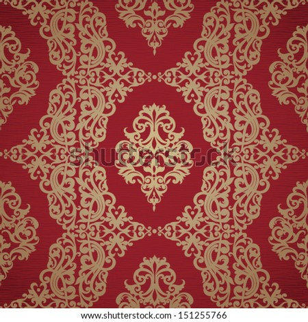 Vector seamless pattern with swirls and floral motifs in retro style. Bright golden background in Victorian style. - stock vector