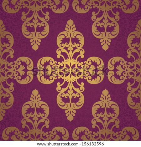 Vector seamless pattern with swirls and floral motifs in retro style. Gold background in Victorian style. - stock vector