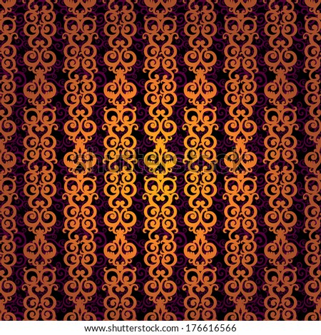 Vector seamless pattern with swirls and floral motifs in retro style. Golden scroll work background. It can be used for wallpaper, pattern fills, web page background, surface textures, classic fabric. - stock vector