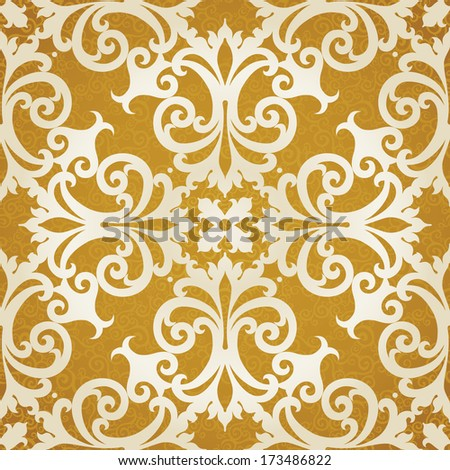 Vector seamless pattern with swirls and floral motifs in retro style. Golden Victorian background. It can be used for wallpaper, pattern fills, web page background, surface textures. - stock vector