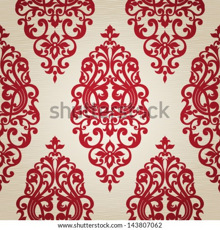 Vector seamless pattern with swirls and floral motifs in retro style. Victorian background of contrast colors. - stock vector