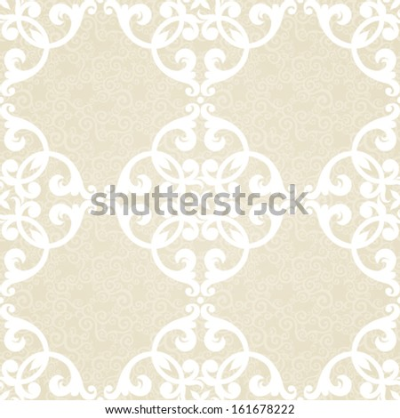 Vector seamless pattern with swirls and floral motifs in retro style.Victorian background of light color.It can be used for wallpaper, pattern fills, web page, surface textures, decoration for clothes - stock vector