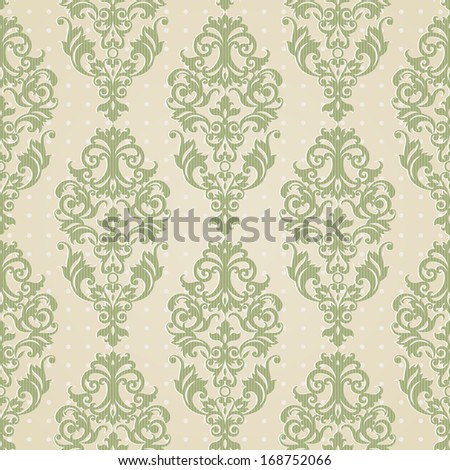 Vector seamless pattern with swirls and floral motifs in retro style. Victorian background of light green color. It can be used for wallpaper, pattern fills, web page background, surface textures. - stock vector