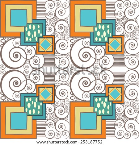 Vector seamless pattern with swirls and geometric shapes. Can be used as background vintage art deco.