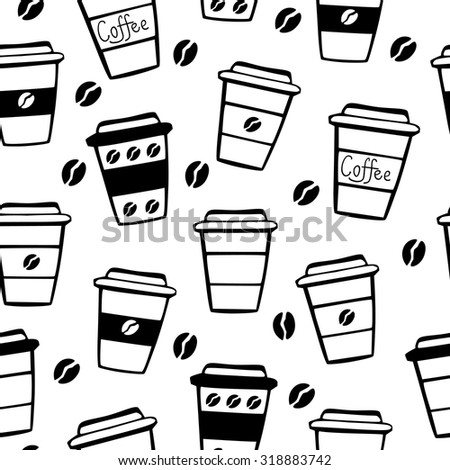 Vector seamless pattern with take away coffee cups and coffee beans in black and white colors. - stock vector