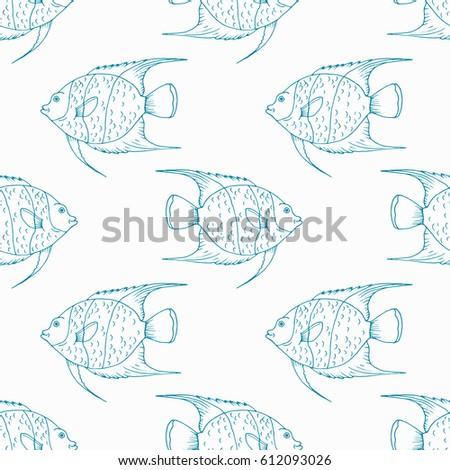 Colorful Angelfish Drawing