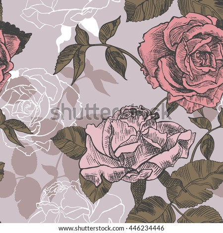 Vector seamless pattern with the pale color roses in vintage style. Illustration drawn with a pencil.