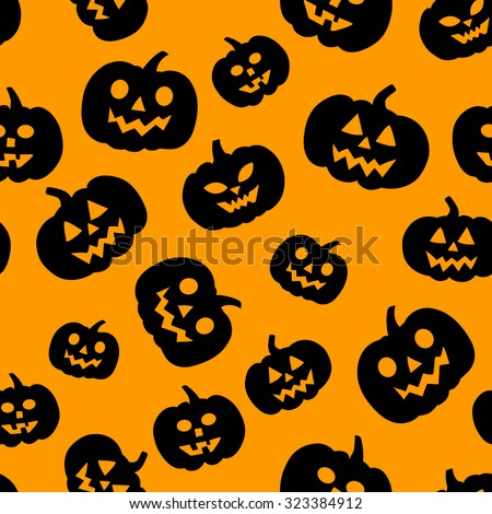 Vector seamless pattern with traditional carved pumpkins. Perfect background for your Halloween design.