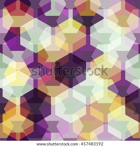 Vector seamless pattern with transparent sparkling pentagons and hexagons. EPS8. Amethyst color palette - stock vector