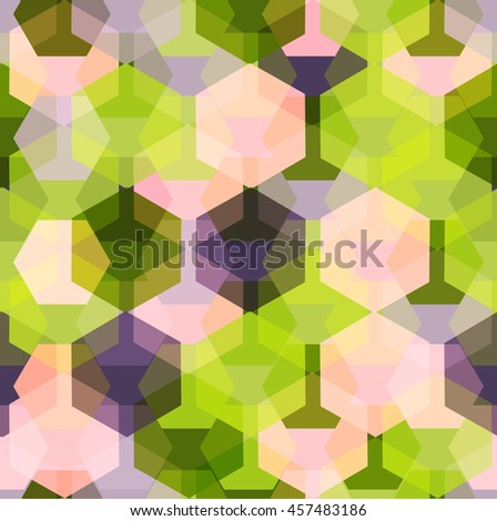 Vector seamless pattern with transparent sparkling pentagons and hexagons. EPS8. Color palette inspired by tropical leaves - stock vector