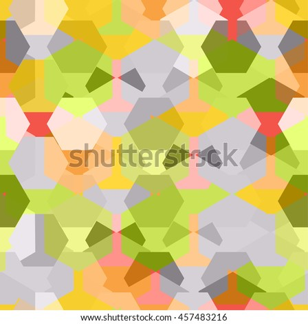 Vector seamless pattern with transparent sparkling pentagons and hexagons. EPS8. Green, yellow and grey palette - stock vector