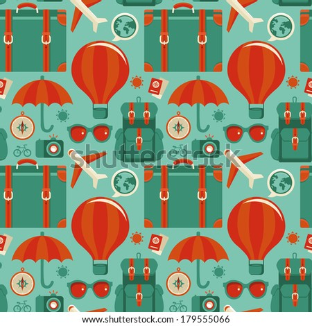 Vector seamless pattern with travel icons in flat style - abstract background - stock vector