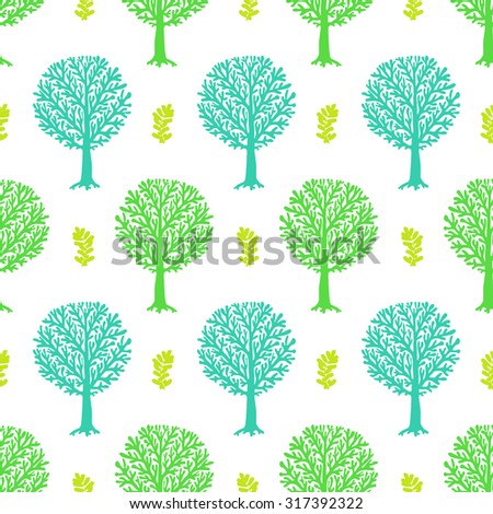 Vector seamless pattern with tree silhouette and leafs in turquoise and white colors for spring summer fashion or gift wrapping paper. Chic, elegant, natural print with woods. Retro style wallpaper - stock vector