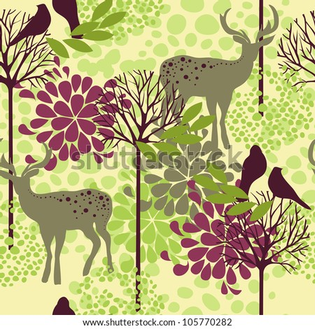 vector seamless pattern with trees, deers and birds - stock vector