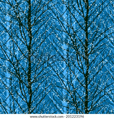 Vector seamless pattern with trees silhouettes under snow fall in black and blue colors for fall winter fashion or Christmas wrapping paper - stock vector