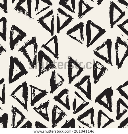 Vector seamless pattern with triangles. Abstract modern background. Monochrome texture from brush strokes. Hipster stylish design. - stock vector