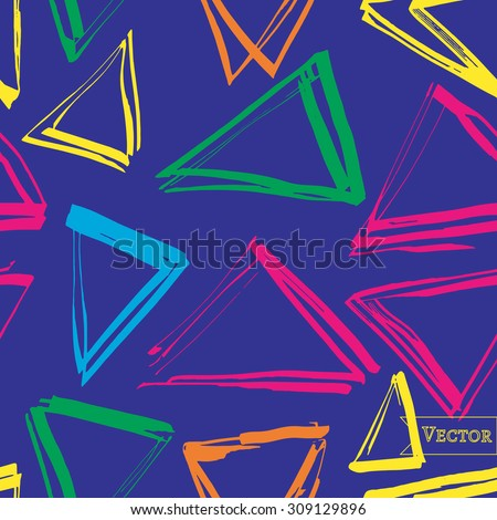 Vector seamless pattern with triangles. Hipster modern design. Allover print with random triangles.