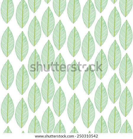 Vector seamless pattern with tribal leaf. Tribal forest pattern. Nature backdrop, repeated background. Can be used as coloring page, adult coloring book. Foliage
