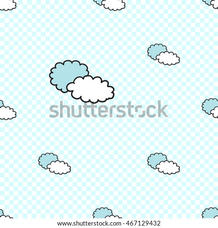 Vector seamless pattern with two clouds. Hand drawn cute and funny fashion illustration. Modern doodle pop art sketch