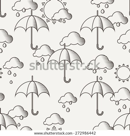 Vector seamless pattern with umbrellas in the rain, the lines drawn in the old style - stock vector