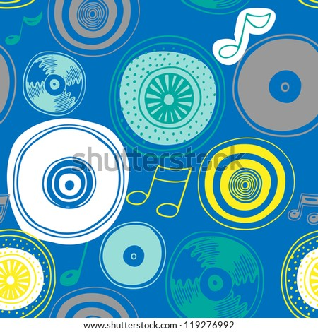 Vector seamless pattern with vinyl discs (record) - stock vector