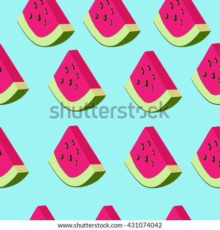 Vector seamless pattern with watermelon - stock vector