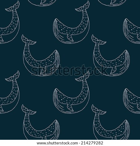 Vector seamless pattern with whales - stock vector