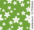 Vector seamless pattern with white flowers on a green background. - stock vector