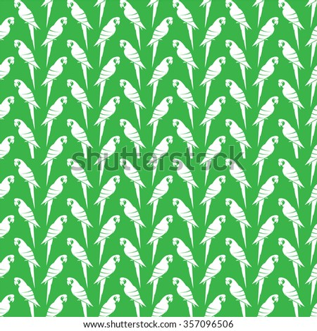 Vector seamless pattern with white parrot on green background. wallpaper - stock vector