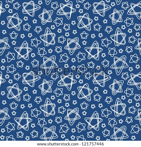 Vector seamless pattern with white stars of doodles. Abstract dark blue ornamental background. Simple illustration with stylized sky in childish hand drawn style. Decorative texture for print, web - stock vector