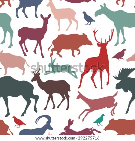 Vector seamless pattern with wild game silhouettes. Beautiful design elements, vintage colors. Perfect for prints and patterns. - stock vector