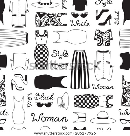 Vector seamless pattern with women's clothing in black and white style . Background for use in design, web site, packing, textile, fabric