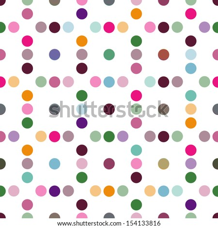 Vector - Seamless patterned white texture with colorful polka dots  - stock vector