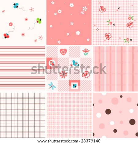 Vector seamless patterns. Easy to use. - stock vector
