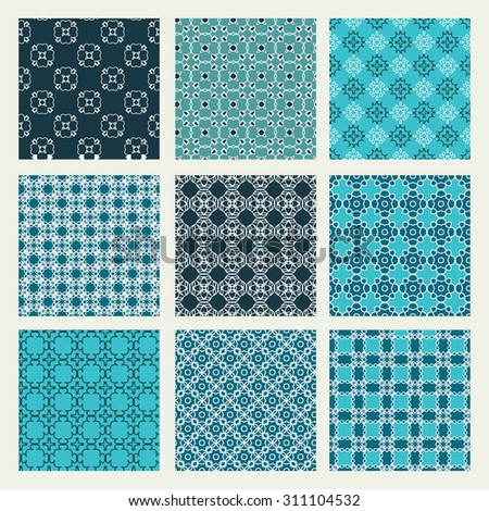 Vector seamless patterns set of nine background in trendy linear style mono line  geometric textures
