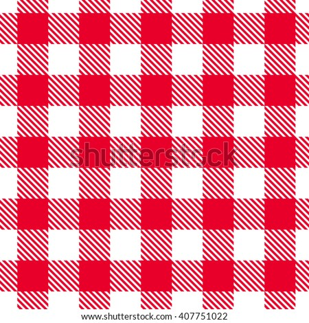 Vector seamless red and white gingham pattern. - stock vector