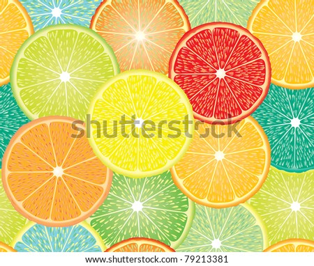 vector seamless repeating design with abstract citrus fruits - stock vector