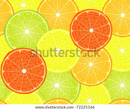 vector seamless repeating design with citrus fruits - stock vector