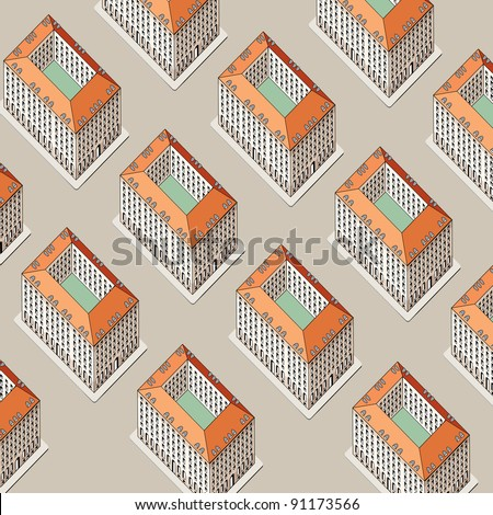 vector seamless repeating wallpaper with buildings - stock vector