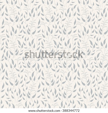Vector seamless retro floral pattern. Silhouettes on a beige background. Gray flowers. - stock vector