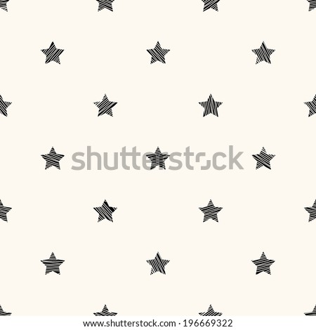 Vector seamless retro pattern with stars - stock vector