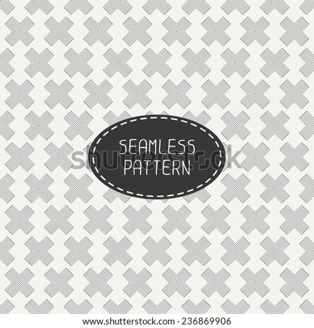 Vector seamless retro vintage geometric hipster line pattern. For wallpaper, pattern fills, web page background, blog. Stylish texture of crosses. - stock vector