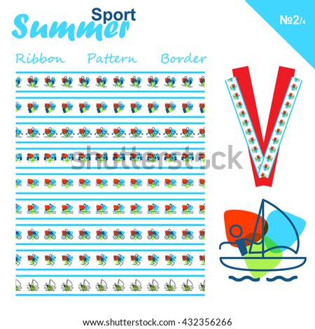Vector seamless ribbons collection. Summer sports border set, simple line. Swimming, Wrestling, Sailing, Diving, Badminton, Rowing, Cycling, Basketball, Table tennis theme. Trendy colors - stock vector