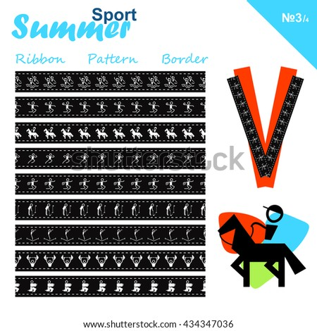 Vector seamless ribbons collection. Summer sports border set, simple line. Trampolining, Synchronized swimming, Equestrian, Judo, Athletics, Weightlifting, Rugby sevens, Golf theme. Trendy colors - stock vector