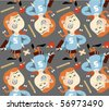 vector seamless school girl patterns - stock vector