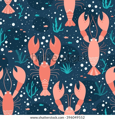 Vector seamless sea life pattern with lobsters - stock vector