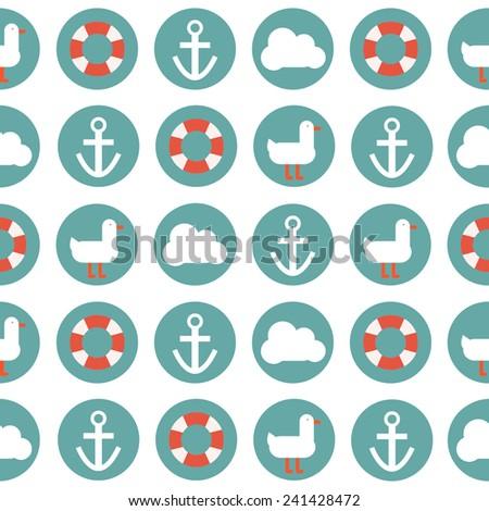 Vector seamless sea pattern. - stock vector