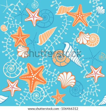 Vector seamless sea pattern. Bright blue background with seashells, starfish and algae. Abstract illustration with concept of seaside resort, vacation, diving. Texture for print, wallpaper, textile - stock vector